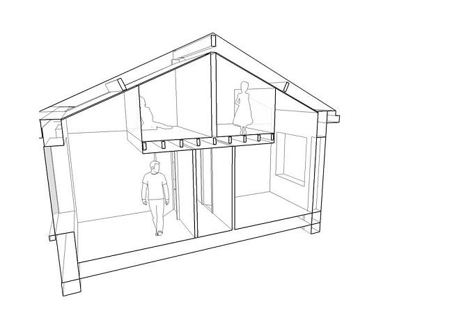 Coupe du concept des chambres en mezzanine