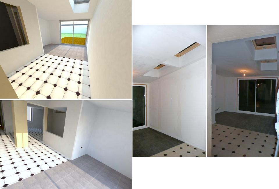Projet extension bois - réalisé intérieur
